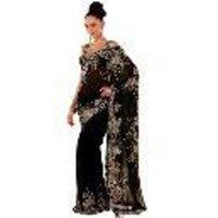 Embroidered Black Georgette Saree