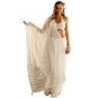Lucknowi White Netted Saree