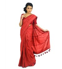 Silk Red On Red Kantha Saree From Bengal