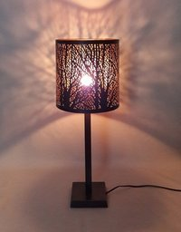 Metal Table Lamp With Etched Shade