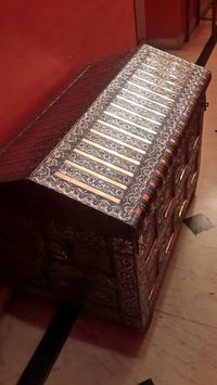 Silver Antique Box With Storage and Inside Mirror