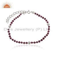 925 Silver Garnet Gemstone Beaded Necklace