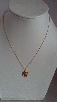 Plain Gold Chain With Gold Ganesh Pendent