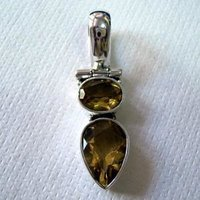 Sterling Silver Pendant Studded With Citrine Stone